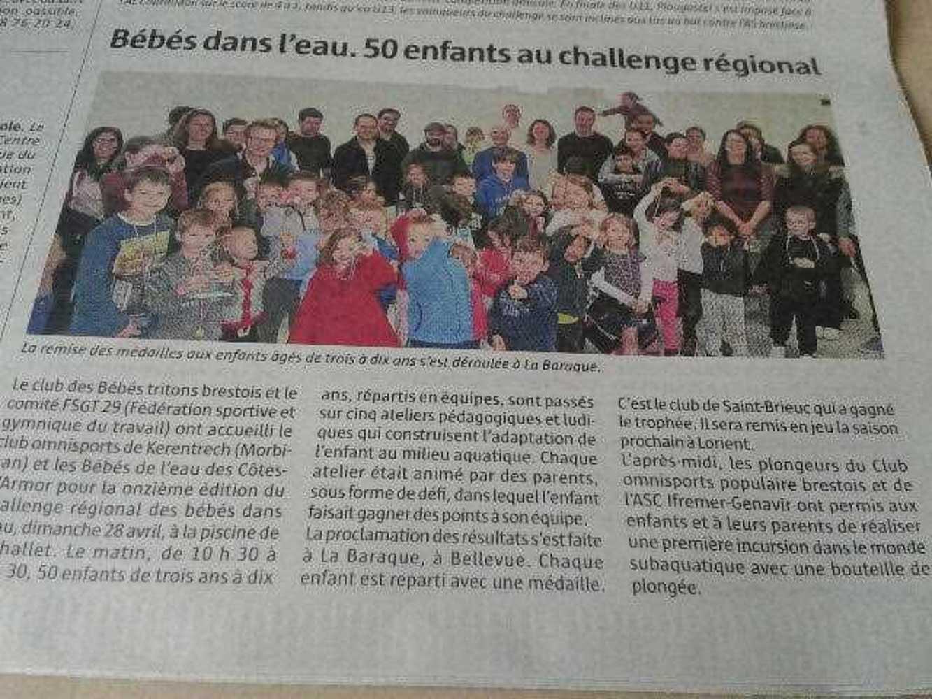 Article Télégramme sur le Challenge à Brest challenge